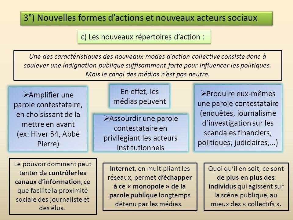 3°) Nouvelles formes d'actions et nouveaux acteurs sociaux