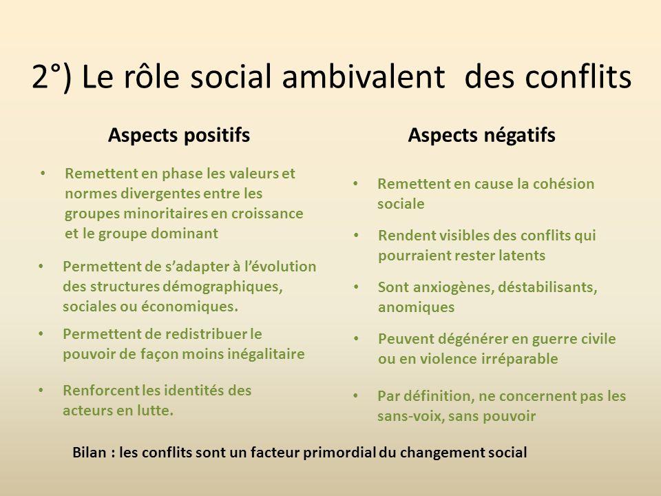 2°) Le rôle social ambivalent des conflits