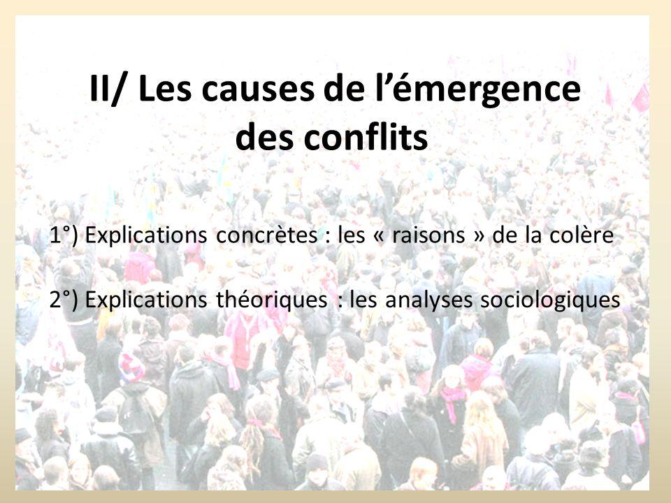 II/ Les causes de l'émergence des conflits