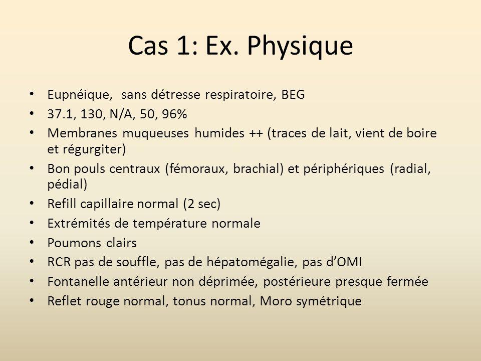 Cas 1: Ex. Physique Eupnéique, sans détresse respiratoire, BEG