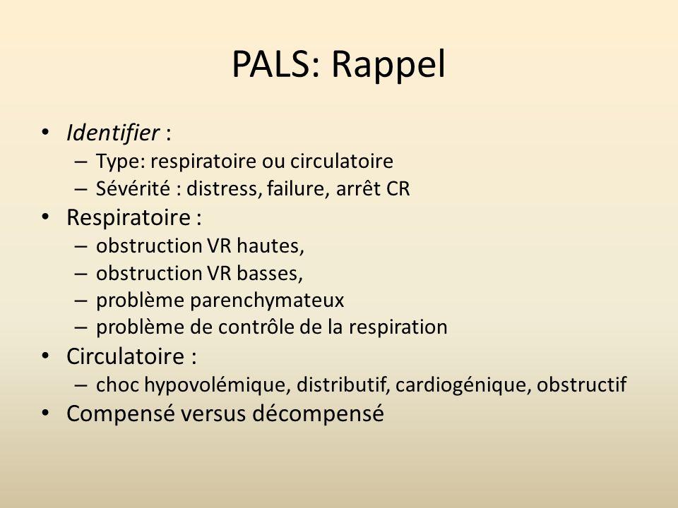 PALS: Rappel Identifier : Respiratoire : Circulatoire :