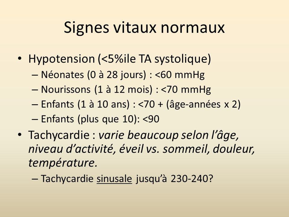 Signes vitaux normaux Hypotension (<5%ile TA systolique)