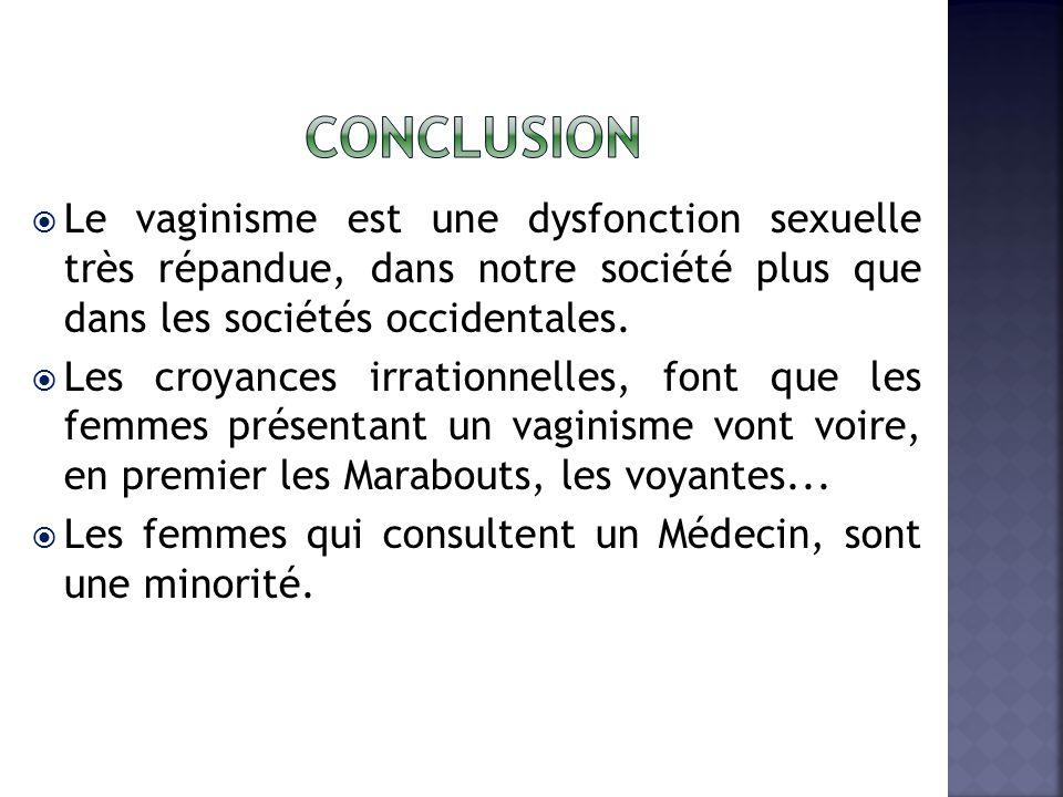conclusion Le vaginisme est une dysfonction sexuelle très répandue, dans notre société plus que dans les sociétés occidentales.