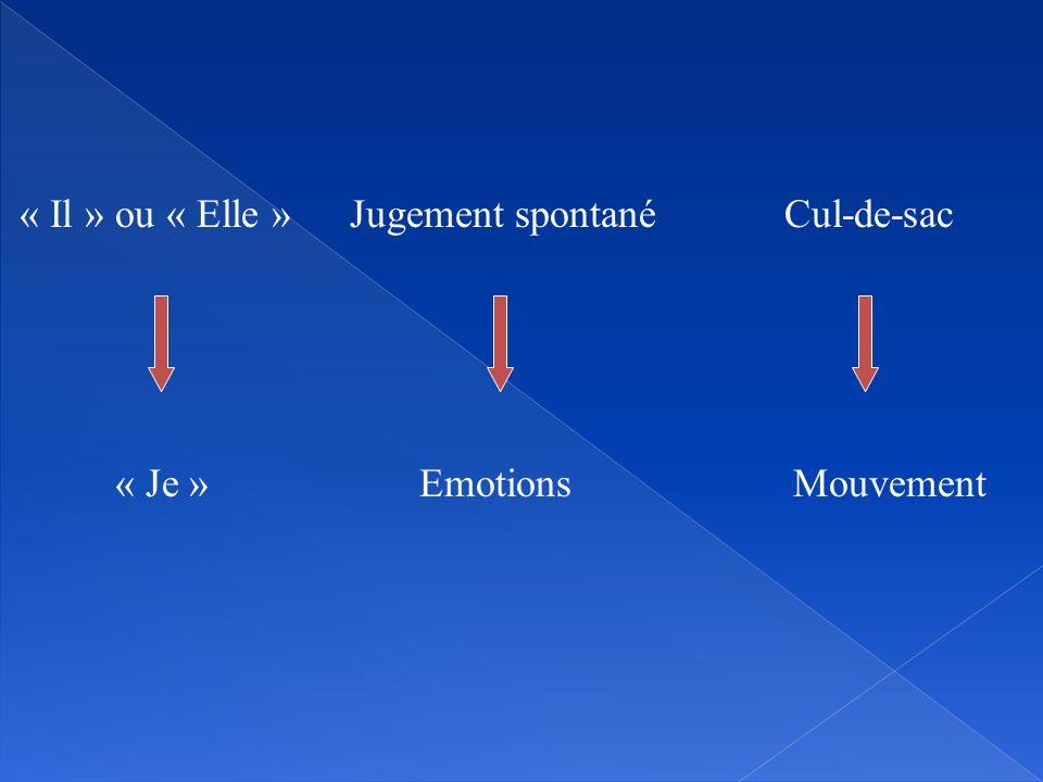 « Il » ou « Elle » Jugement spontané Cul-de-sac « Je » Emotions Mouvement