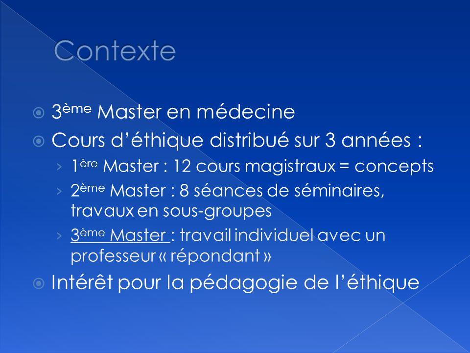 Contexte 3ème Master en médecine
