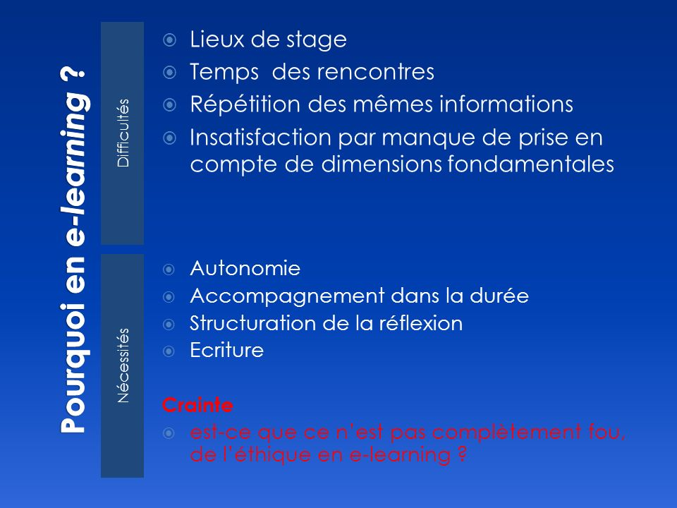 Pourquoi en e-learning