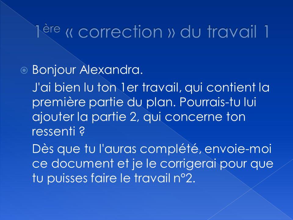 1ère « correction » du travail 1