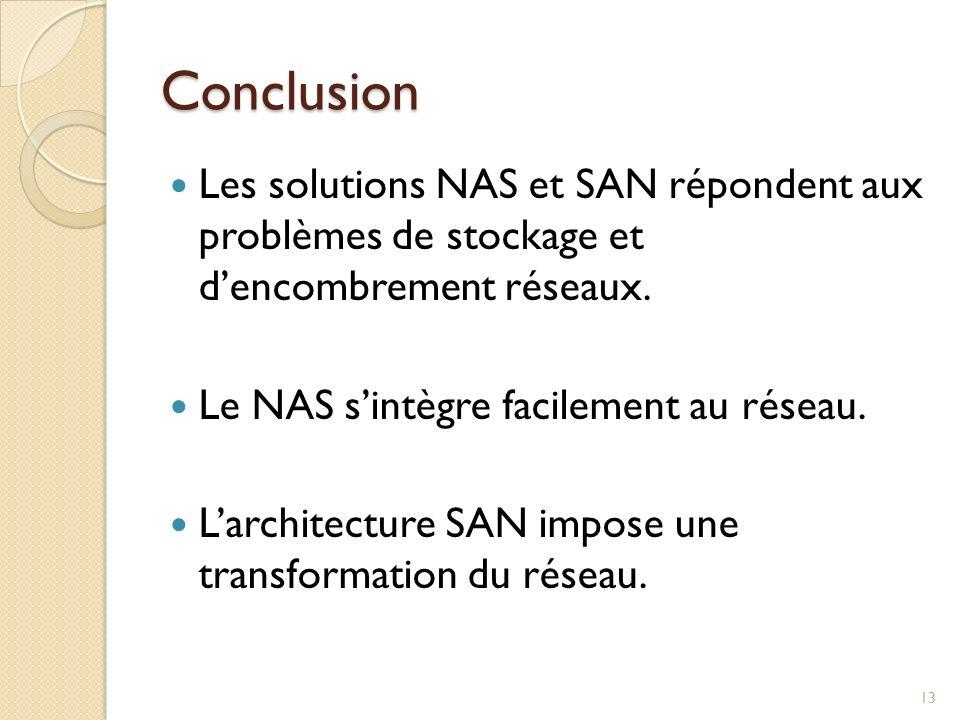Conclusion Les solutions NAS et SAN répondent aux problèmes de stockage et d'encombrement réseaux.