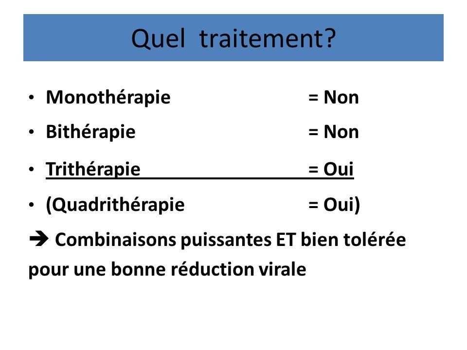 Quel traitement Monothérapie = Non Bithérapie = Non Trithérapie = Oui
