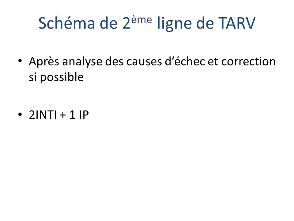 Schéma de 2ème ligne de TARV