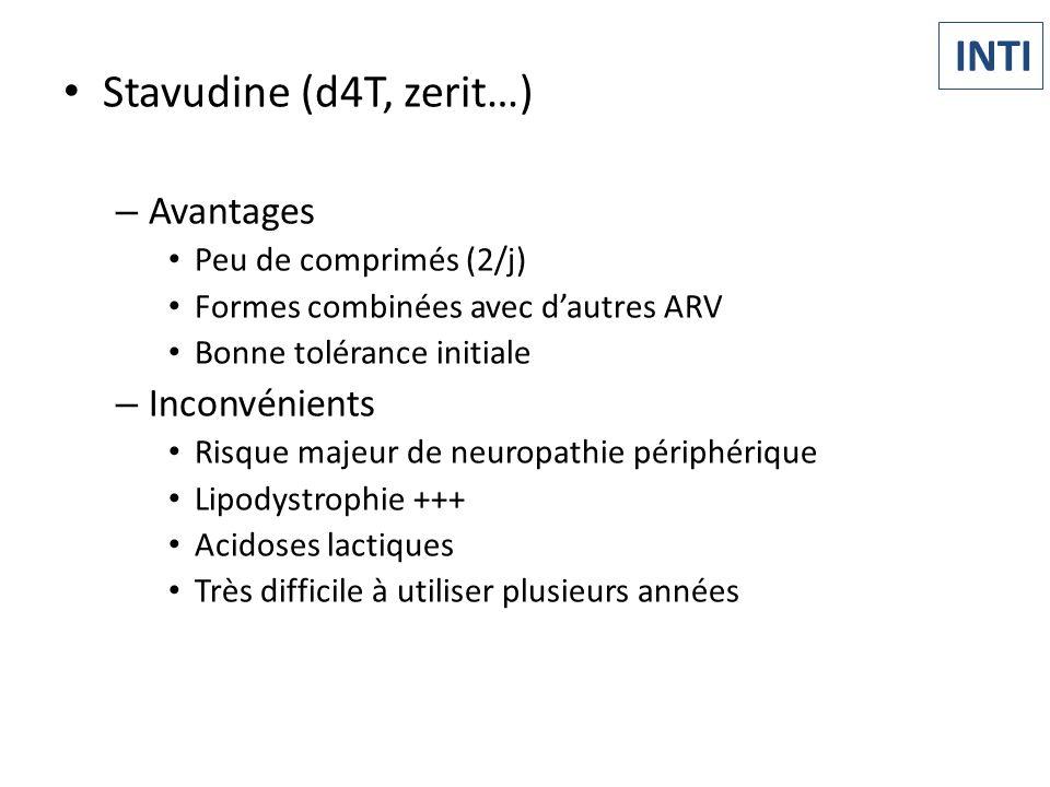 INTI Stavudine (d4T, zerit…) Avantages Inconvénients