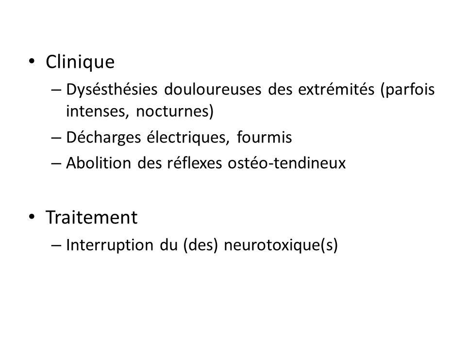 Clinique Dysésthésies douloureuses des extrémités (parfois intenses, nocturnes) Décharges électriques, fourmis.