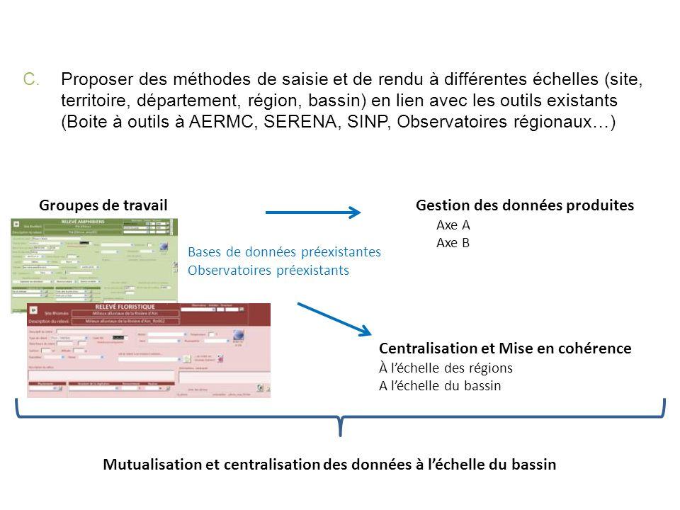 Proposer des méthodes de saisie et de rendu à différentes échelles (site, territoire, département, région, bassin) en lien avec les outils existants (Boite à outils à AERMC, SERENA, SINP, Observatoires régionaux…)