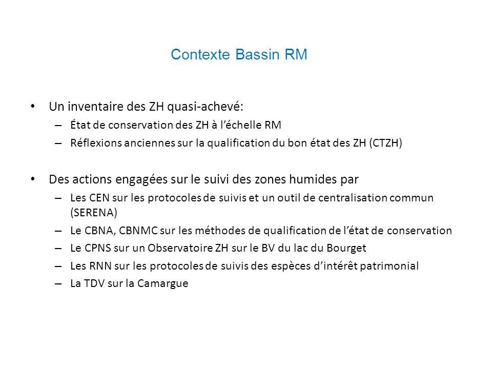 Contexte Bassin RM Un inventaire des ZH quasi-achevé: