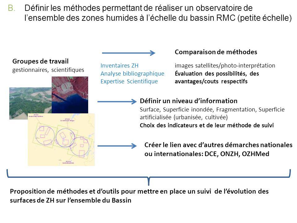 Définir les méthodes permettant de réaliser un observatoire de l'ensemble des zones humides à l'échelle du bassin RMC (petite échelle)
