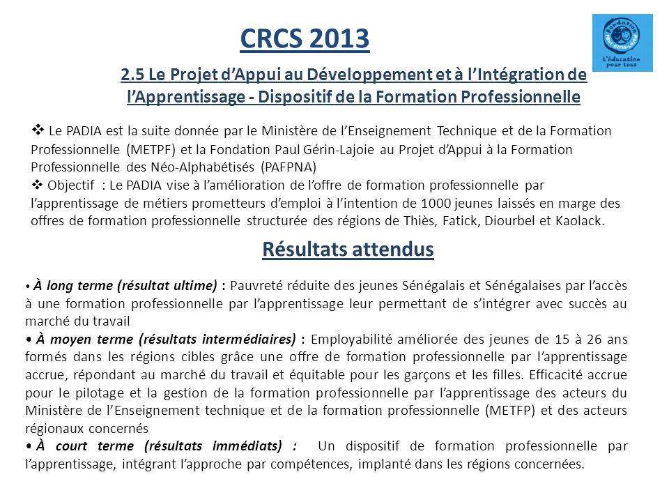 CRCS 2013 Résultats attendus