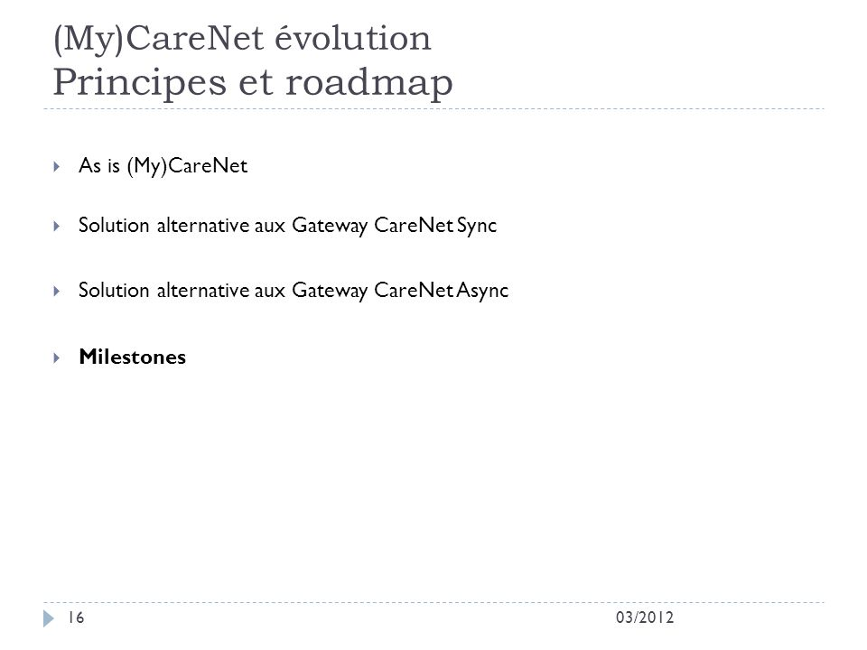(My)CareNet évolution Principes et roadmap
