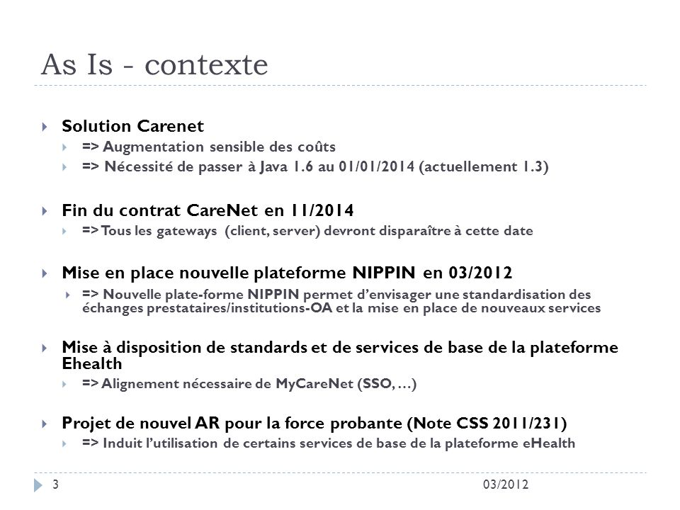 As Is - contexte Solution Carenet Fin du contrat CareNet en 11/2014