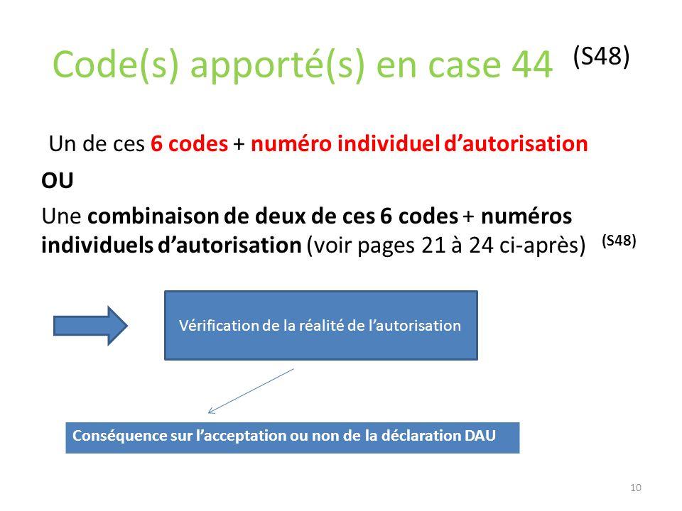 Code(s) apporté(s) en case 44 (S48)
