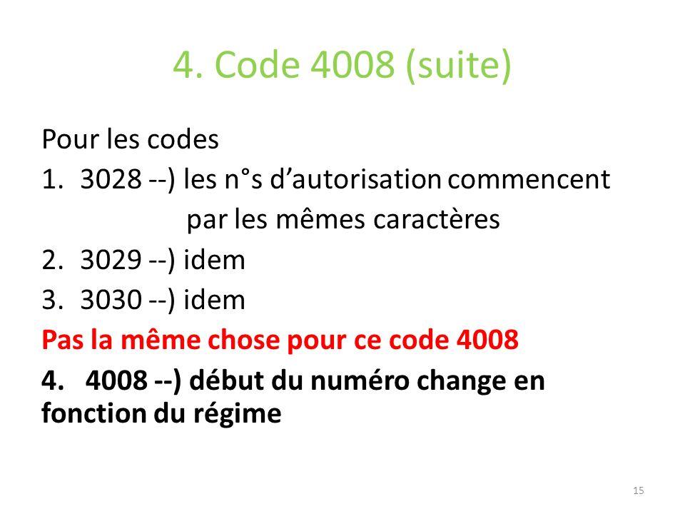 4. Code 4008 (suite) Pour les codes
