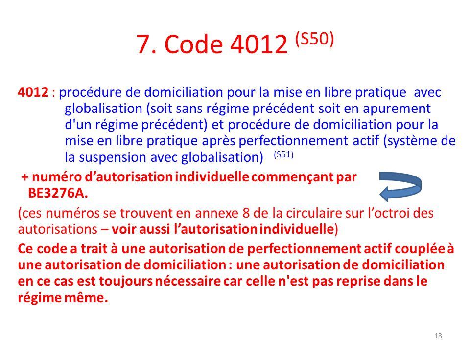 7. Code 4012 (S50)