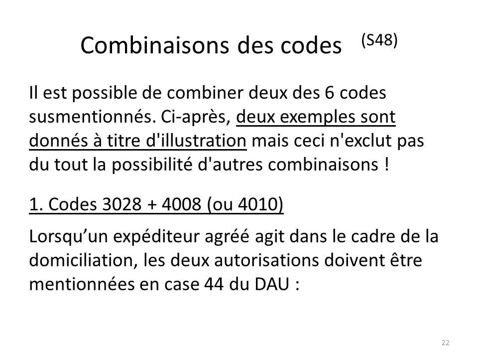 Combinaisons des codes (S48)