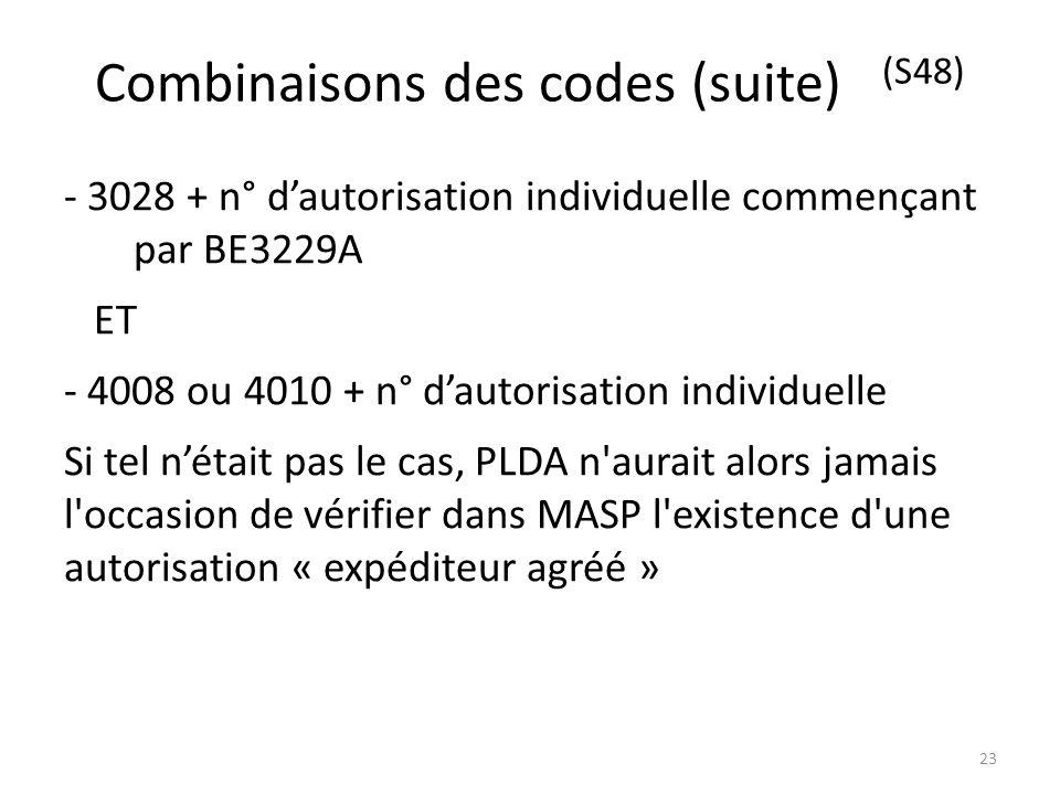 Combinaisons des codes (suite) (S48)