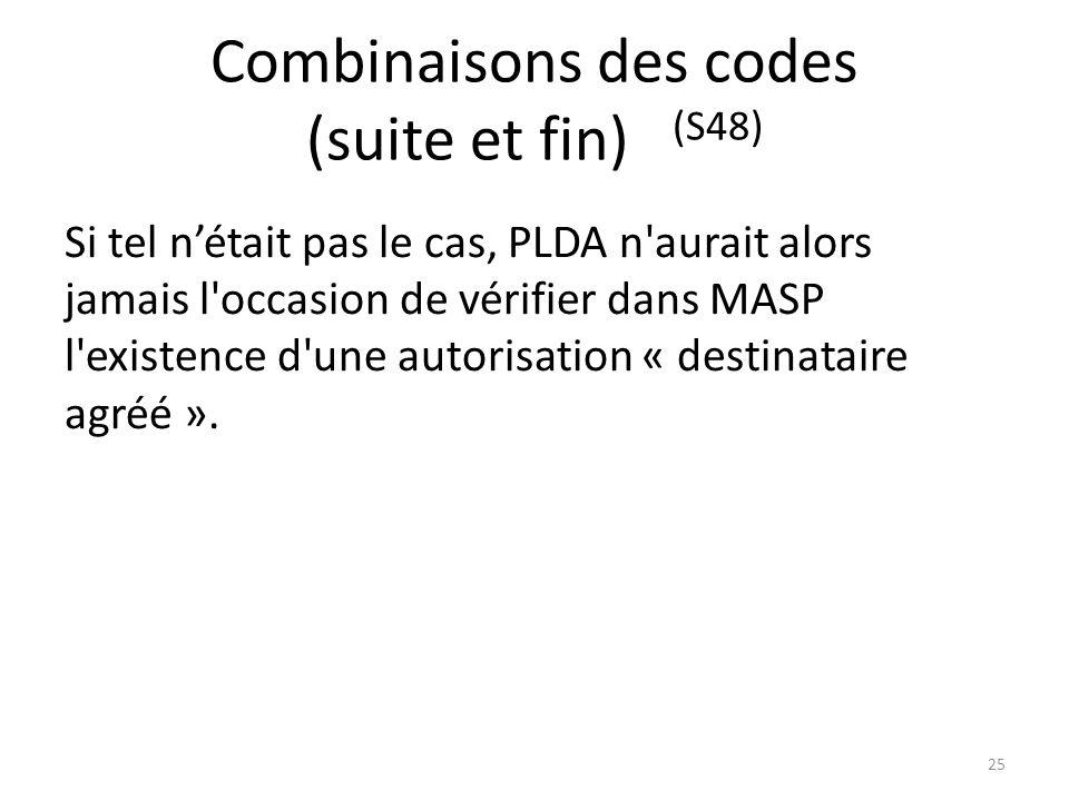 Combinaisons des codes (suite et fin) (S48)