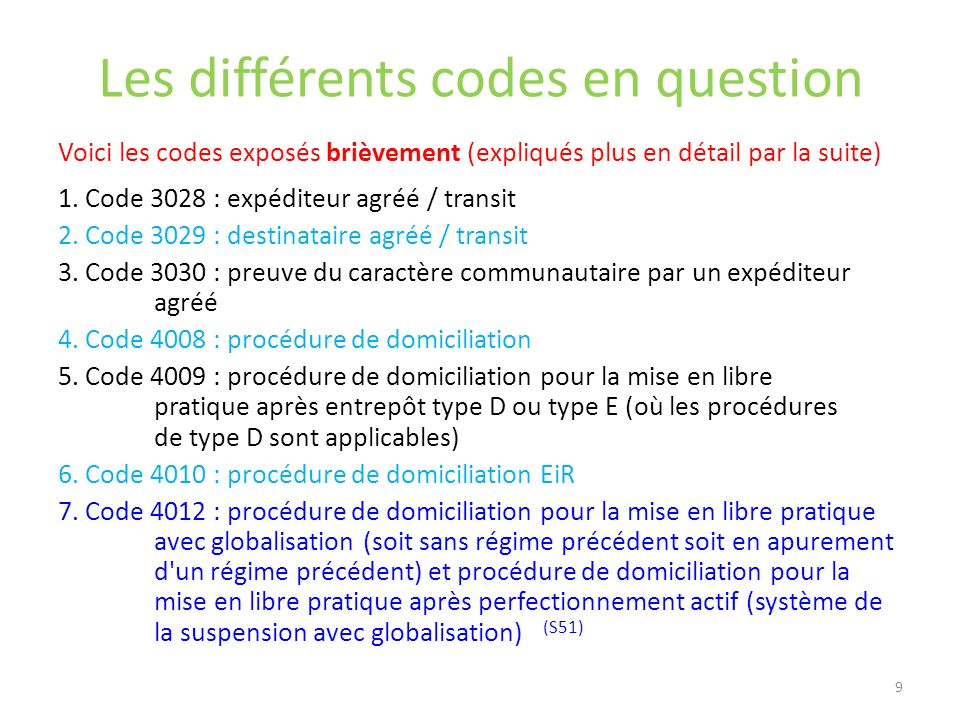 Les différents codes en question