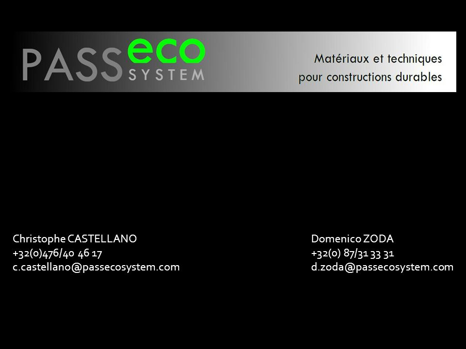 Christophe CASTELLANO +32(0)476/40 46 17 c. castellano@passecosystem