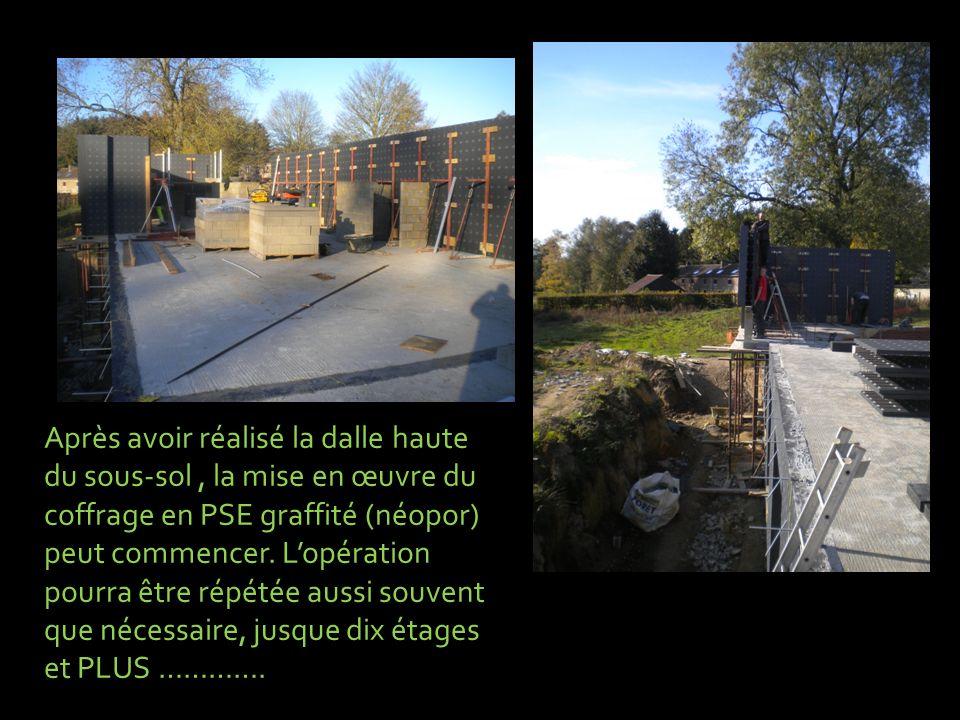 Après avoir réalisé la dalle haute du sous-sol , la mise en œuvre du coffrage en PSE graffité (néopor) peut commencer.