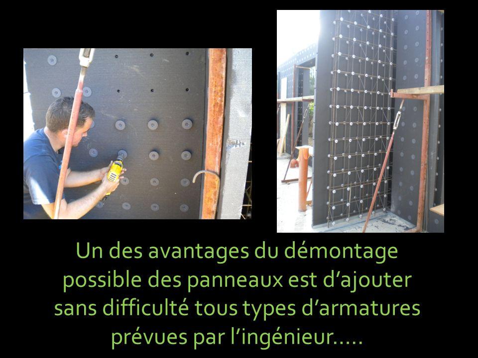 Un des avantages du démontage possible des panneaux est d'ajouter sans difficulté tous types d'armatures prévues par l'ingénieur…..