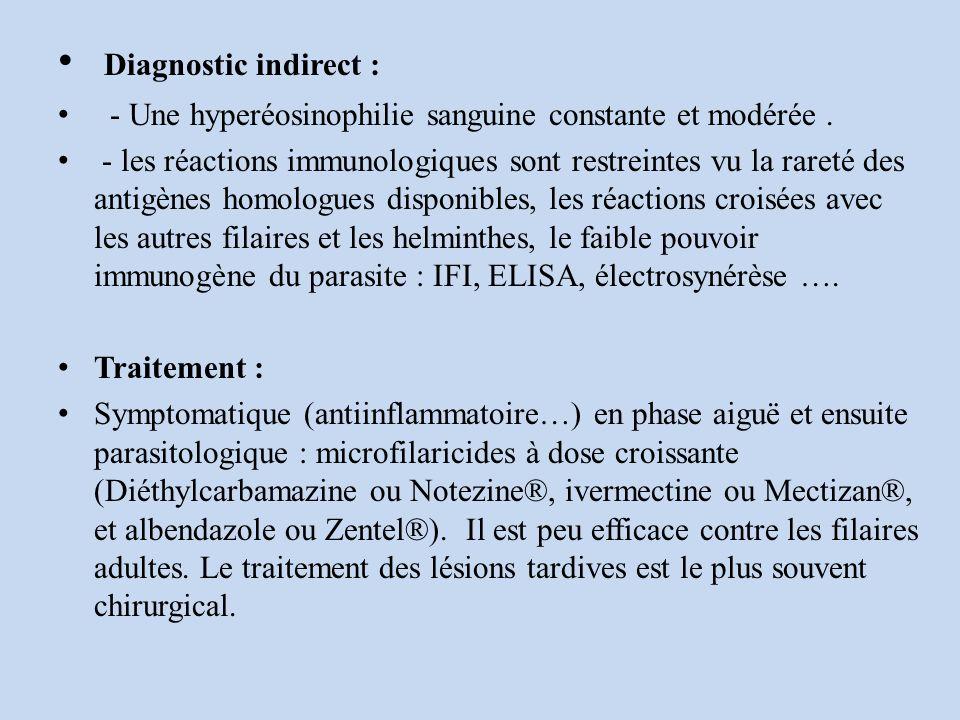 Diagnostic indirect : - Une hyperéosinophilie sanguine constante et modérée .