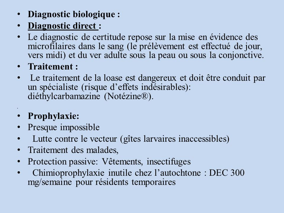 Diagnostic biologique : Diagnostic direct :
