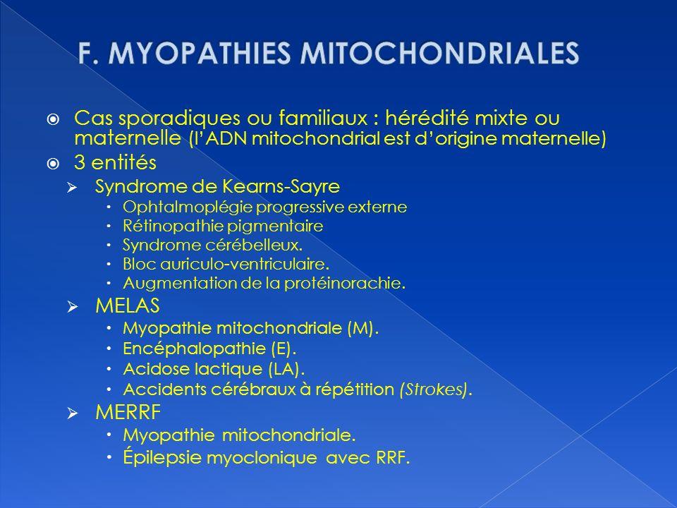 F. MYOPATHIES MITOCHONDRIALES