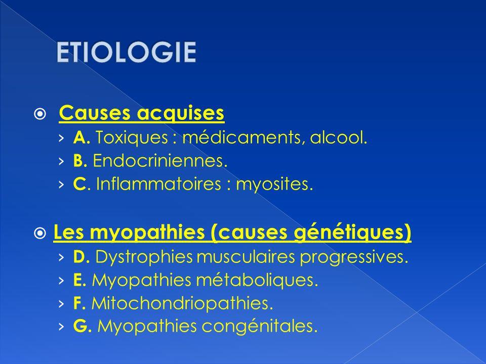 ETIOLOGIE Causes acquises Les myopathies (causes génétiques)