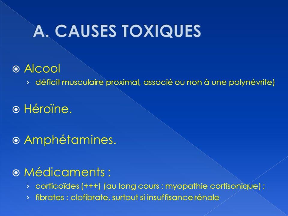 A. CAUSES TOXIQUES Alcool Héroïne. Amphétamines. Médicaments :