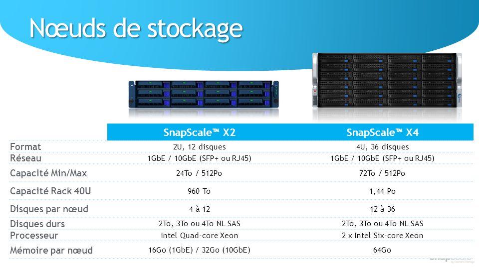Nœuds de stockage SnapScale™ X2 SnapScale™ X4 Format Réseau