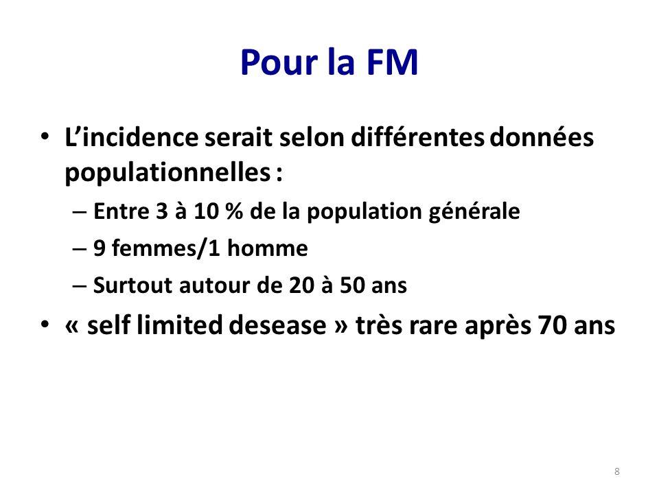 Pour la FM L'incidence serait selon différentes données populationnelles : Entre 3 à 10 % de la population générale.