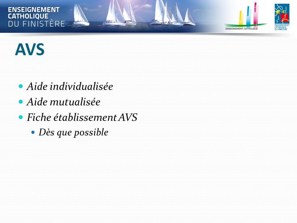 AVS Aide individualisée Aide mutualisée Fiche établissement AVS