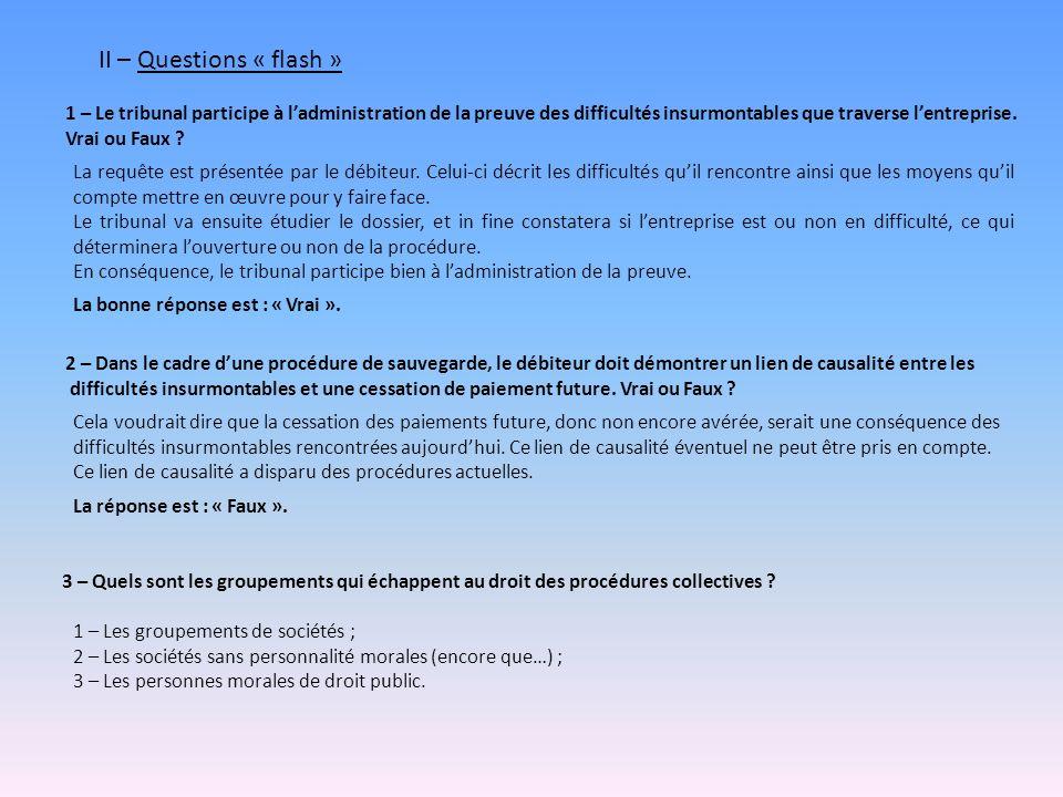 II – Questions « flash » 1 – Le tribunal participe à l'administration de la preuve des difficultés insurmontables que traverse l'entreprise.