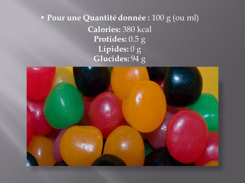 • Pour une Quantité donnée : 100 g (ou ml)