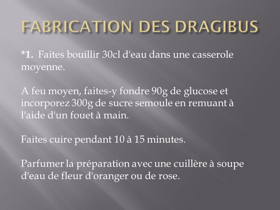 FABRICATION DES DRAGIBUS