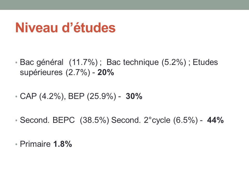 Niveau d'études Bac général (11.7%) ; Bac technique (5.2%) ; Etudes supérieures (2.7%) - 20% CAP (4.2%), BEP (25.9%) - 30%