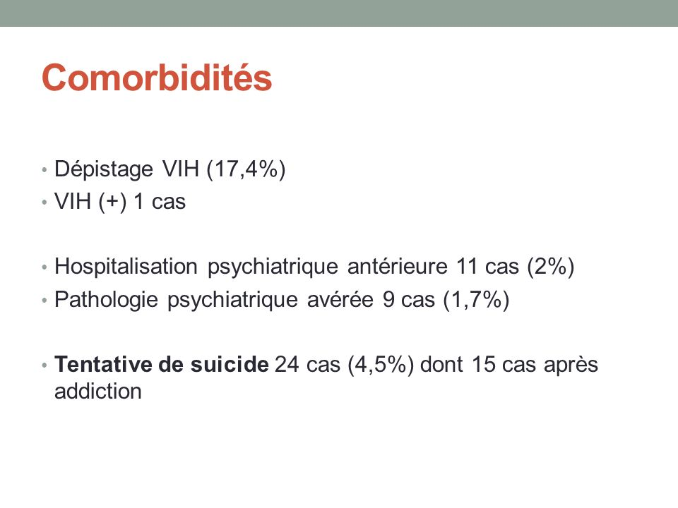 Comorbidités Dépistage VIH (17,4%) VIH (+) 1 cas