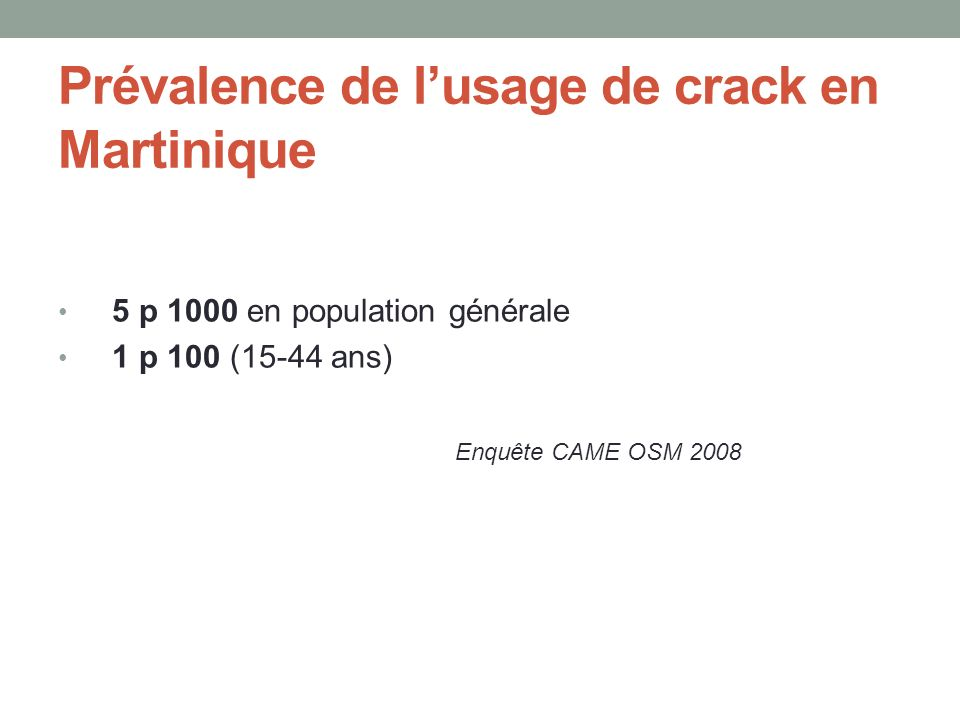 Prévalence de l'usage de crack en Martinique