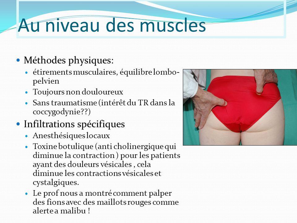 Au niveau des muscles Méthodes physiques: Infiltrations spécifiques