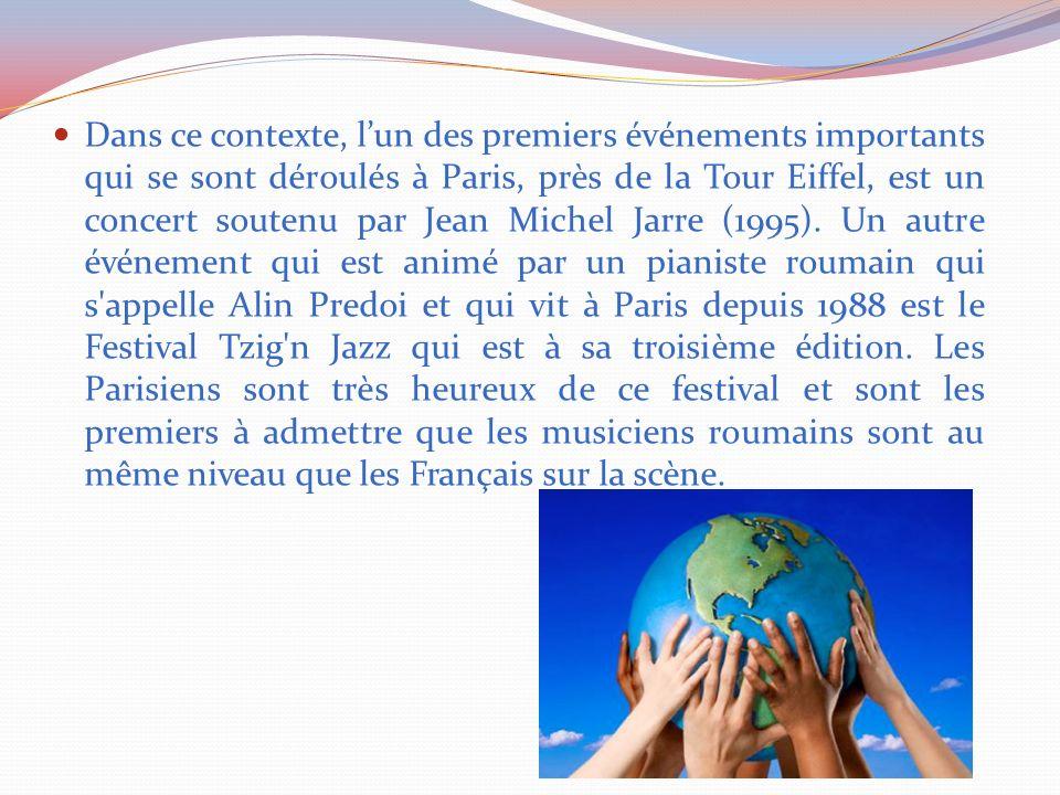 Dans ce contexte, l'un des premiers événements importants qui se sont déroulés à Paris, près de la Tour Eiffel, est un concert soutenu par Jean Michel Jarre (1995).