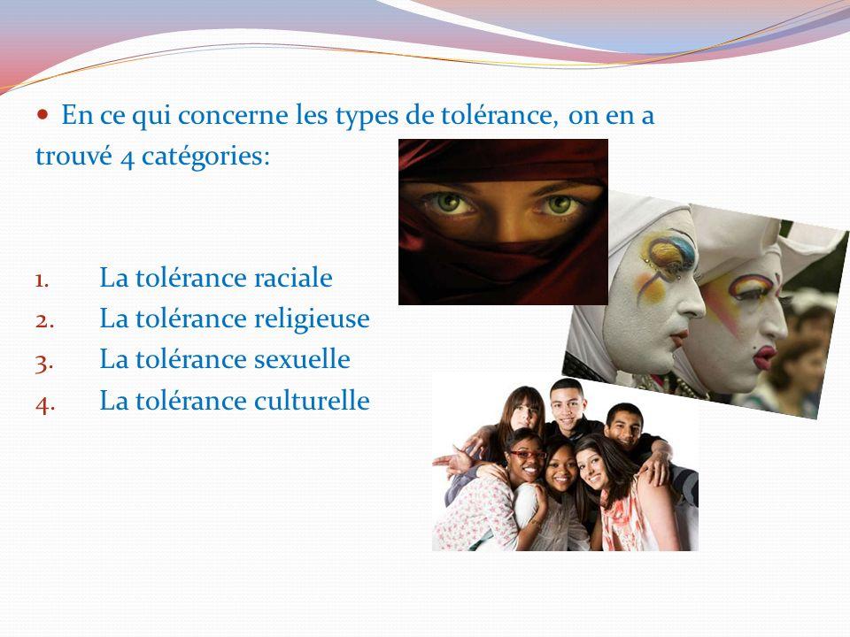 En ce qui concerne les types de tolérance, on en a