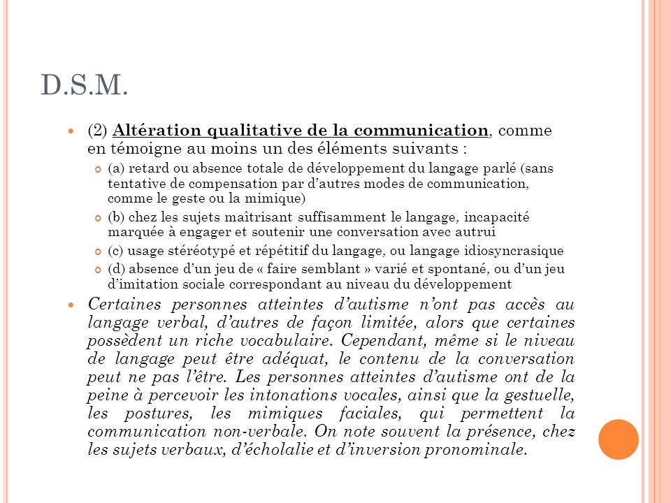 D.S.M.(2) Altération qualitative de la communication, comme en témoigne au moins un des éléments suivants :